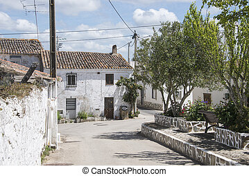 typical portugese village - Ameixial typical white houses in...