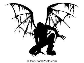 Fallen Angel Silhouette - Silhouette of the fallen angel...