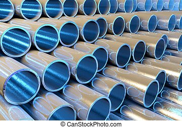 Chrome Tubes with blue light inside - 3d rendered...