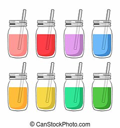 Collection of different smoothies isolated on white...