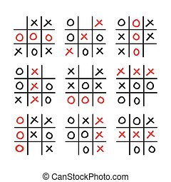 Illustration of doodle tic tac toe game set isolated on...