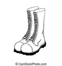 Illustration of hand drawn military boots isolated on white...
