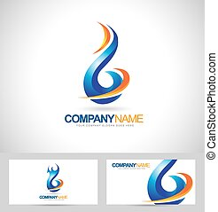 Blue Flame Logo Concept Design Creative Flame Icon and...