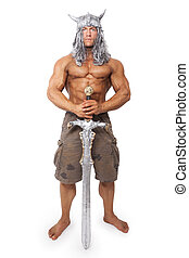 Medieval warior with sword isolated - Handsome sexy muscular...