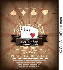Poker tournament vector background in retro style