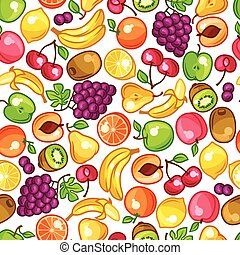 Seamless pattern with stylized fresh ripe fruits