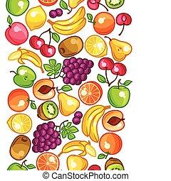 Seamless pattern with stylized fresh ripe fruits.