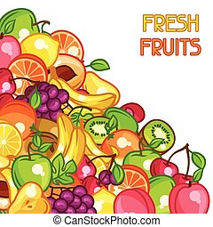 Background design with stylized fresh ripe fruits.
