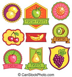 Set of badges and labels with stylized fresh ripe fruits