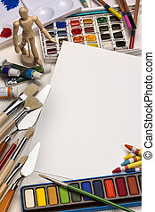 Art Materials - Painting - Space for Text - Art materials...