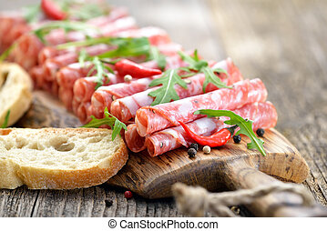 Salami snack - Air-dried Italian salami from Tuscany served...