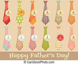 Fathers Day Poster with Set of Ties Flat Design Retro Style...
