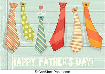 Father's Day Poster with Set of Ties on Rustic Wooden...