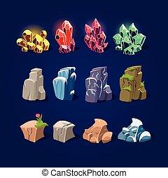 Set of Cartoon Vector Stones and Minerals - Set of cartoon...