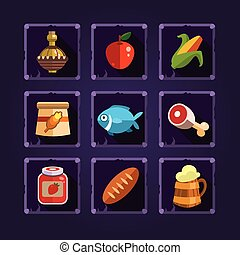 Resource Icons for Games. Food and Potions - Resource icons...