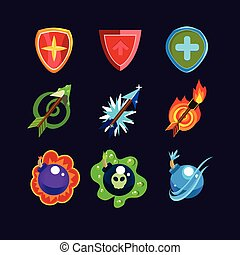 Game Resources Icons - Game resources, weapon icons set