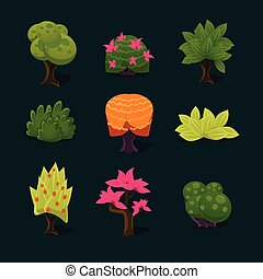 Illustration Isolated Set of Cartoon Tree - illustration of...