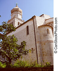 Retro look Krk Cathedral - Vintage looking Krk Cathedral in...