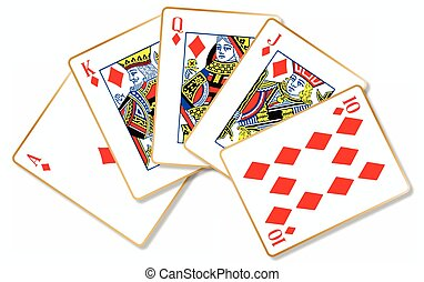 Royal Flush - The playing card making a royal flush over a...