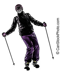 one woman skier skiing silhouette