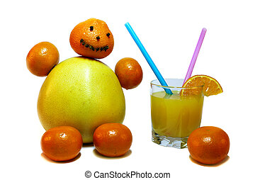 Juice and little man made of citrus fruits - Citrus fruits...