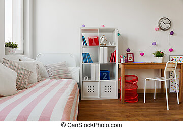 Childs room in pastel colors - Interior of childs room in...