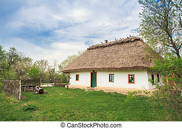 Ukrainian Cossacks - typical national home in Ukraine in the...