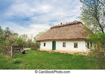 Ukrainian Cossacks - typical national home in Ukraine in the...