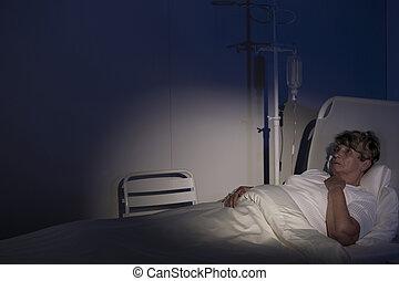 Terminally, malade, femme,