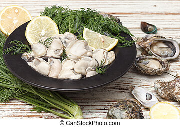 Oyster seafood lemon fresh mussel asia appetizer luxury