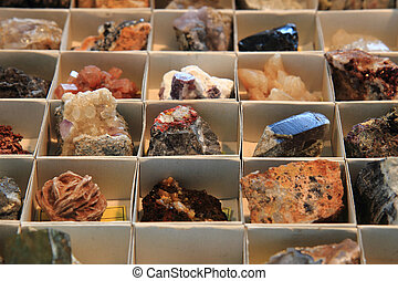 color minerals and gems collection as natural background