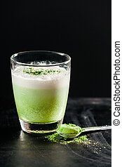 Healthy Green Smoothie in Glass with Powder