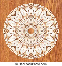 White crochet doily. Vector illustration. May be used for...