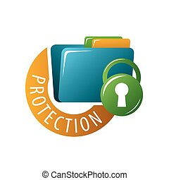 vector logo folder with documents protected