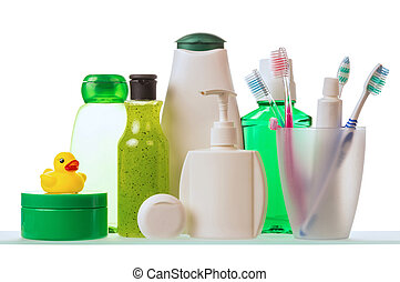 Shampoo and toothpaste with toothbrushes - Shampoo, dental...
