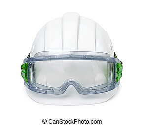 Protective equipment - White hard hat and safety goggles...