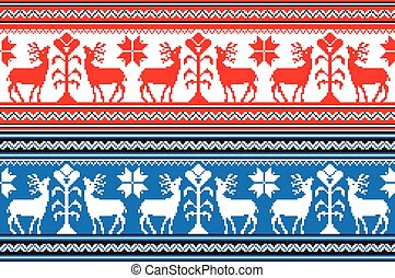 Set of Ethnic holiday ornament pattern in different colors...