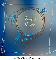 Boho style frame background. Vector illustration - Boho...