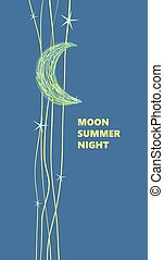 Moon and stars, advertising poster, cartoon style.