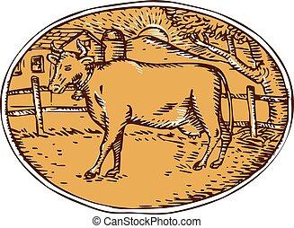 Cow Ranch Farm House Oval Woodcut