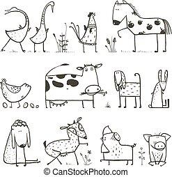 divertido, niños, animales, granja, doméstico, Colección, caricatura, colorido, página