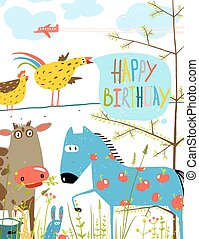 Colorful Funny Cartoon Farm Domestic Animals Birthday Greeting Card