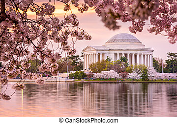Jefferson Memorial - Washington, DC at the Tidal Basin and...