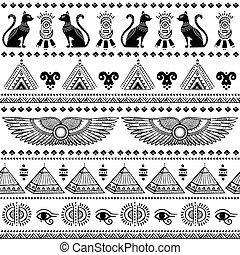 Tribal ethnic seamless pattern with Egypt symbols - Vector...