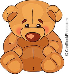 Sad teddy bear sits on a white background, vector
