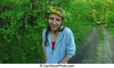 Girl in wreath
