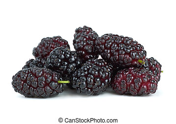 Few mulberries isolated on the white background