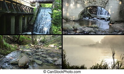 water flow fog collage