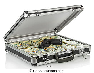 Silver case with money and gun on white background