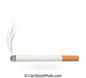Cigarette - A lit cigarette.
